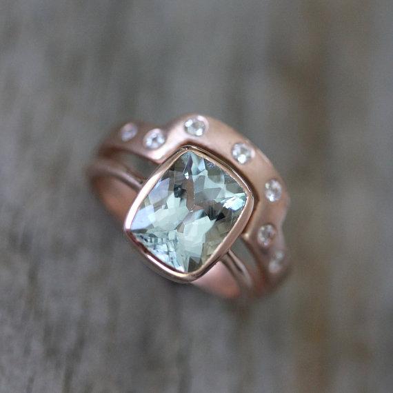 Aquamarine Rose Gold Engagement Ring Wedding Set 14k Cushion Cut And White Sapphire Band