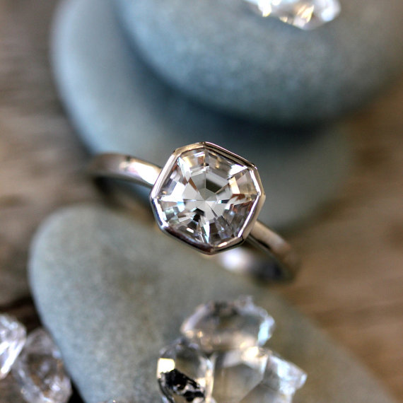 Hand Cut Herkimer Diamond Ring, Asscher Cut Stone Cut In The USA, Diamond  Alternative, Herkimer Diamond Solitaire
