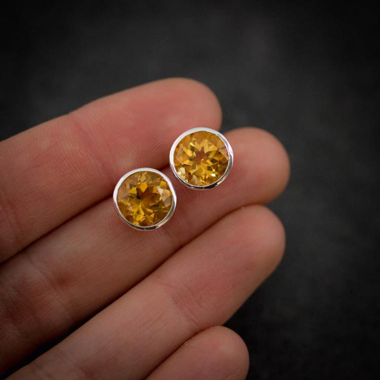 Large Gemstone Stud Earrings