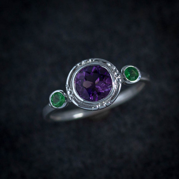Amethyst and Tsavorite Garnet Three Stone Ring, Halo Ring