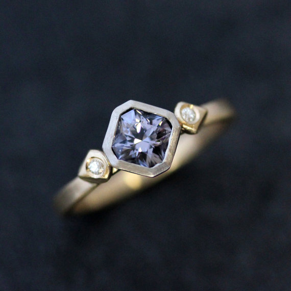 Indigo Blue Spinel & White Moissanite Engagement Ring, 14k Yellow and White Gold  Engagement Ring, Recycled Gold with Diamond Alternative