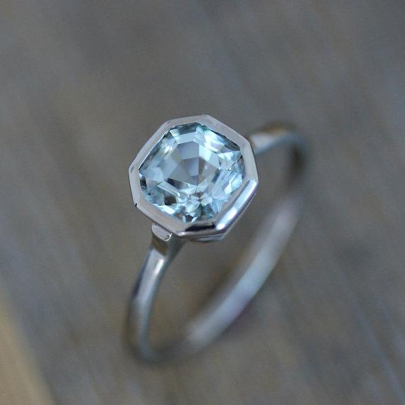 Light Blue Aquamarine, Asscher Cut Stone Set In A 14k White Gold Engagement  Ring, Modern Design