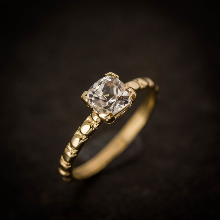 natural white sapphire and 14k yellow gold vintage inspired one of a kind sapphire ring cushion cut sapphire solitaire ring engagement ring - White Sapphire Wedding Rings