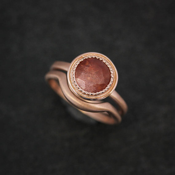 Oregon Sunstone and 14k Rose Gold Solitaire Ring Gold Gemstone Ring