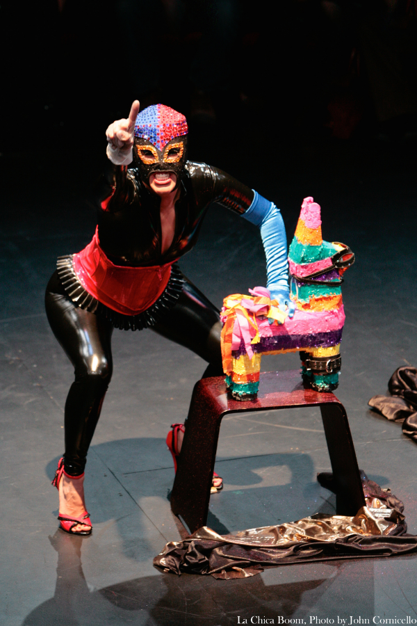 La Chica Boom = outrageously talented Bay Area performance artist interviewed in issue four. Photo is from Dominatrix of the Barrio at ACTtheater