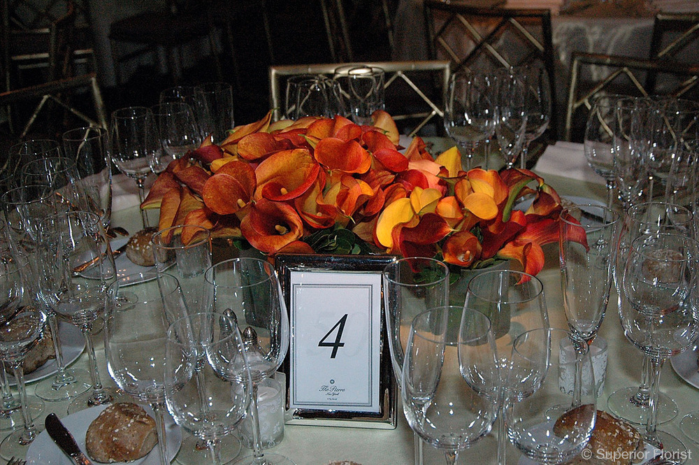 Superior Florist – Centerpieces:  Dinner table centerpiece of Mango Callas arranged in a glass cylinder vase. Next to vase is a smaller arrangement of mango Callas.