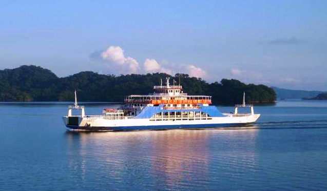 The Naviera Tambor Ferry crossing the Gulf Of Nicoya.    Schedules available on their website.