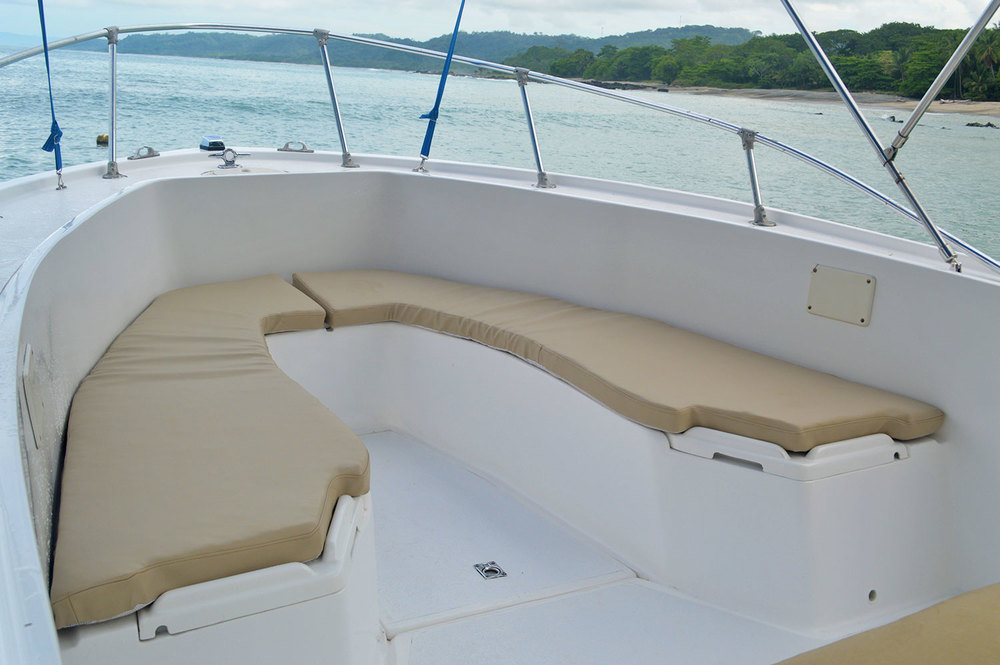 Plenty of leg room to relax on the ride out and to relax in between surf sessions.