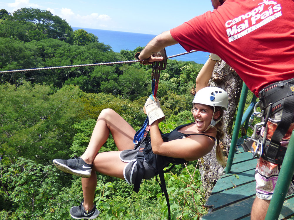 The Canopy del Pacifico, Zip Line tour is a spectacular 2 hour fun, adrenaline filled jungle tour over the tree tops of the Mal Pais jungle. It consists of 11 platforms which are between 5 - 30 meters in height. The 300 meter long shot over a canyon will leave you with an experience for the memory banks.