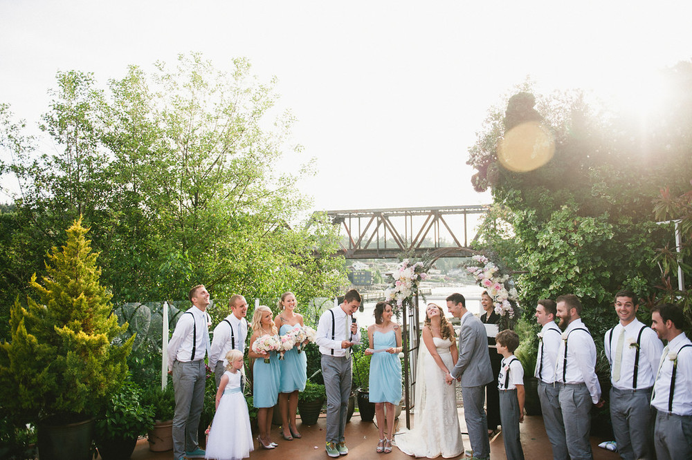 Outdoor Ceremony at the Canal captured by Meredith McKee Photography