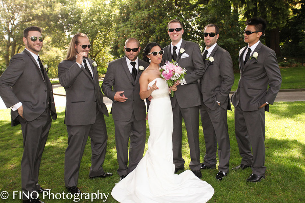 fun trendy bride and groomsmen