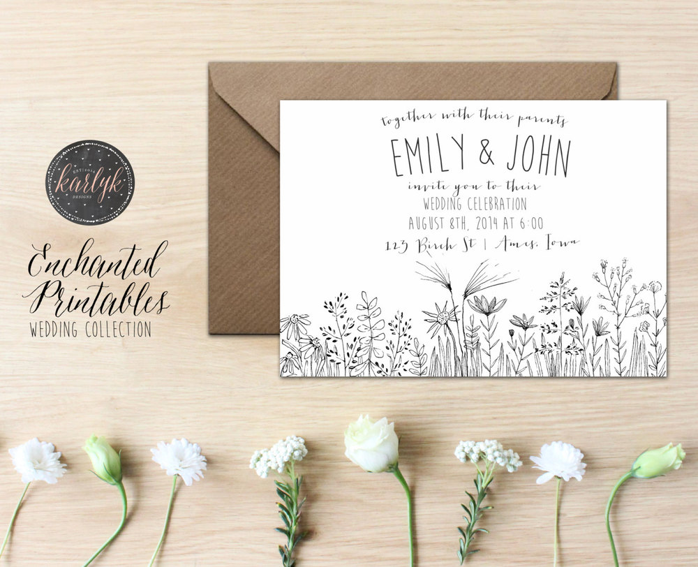 Floral Wedding Invitation: EnchantedPrintables via Etsy