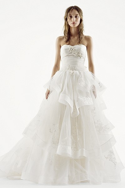 White by Vera Wang - Strapless Tiered Tulle Ball Gown Style Wedding Dress