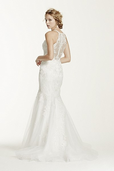 Jewel Collection - Lace and Tulle Trumpet Wedding Gown with Illusion Halter