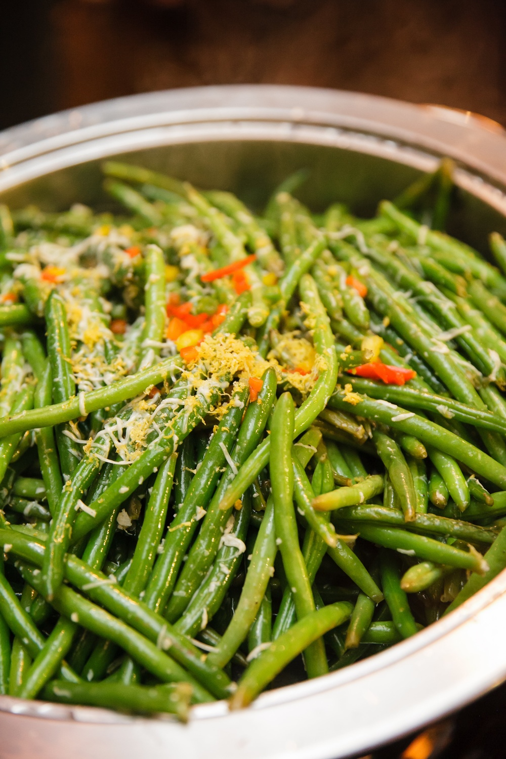 Reggiano Green Beans Infused with Lemon Zest and Garlic garnished Grated Parmigiano | Red Sparrow Photography