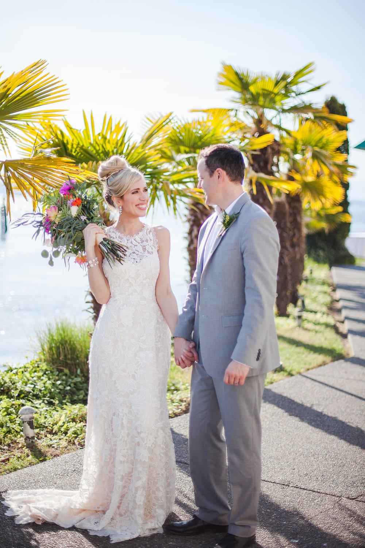 Bride and groom at the Ballard Bay Club