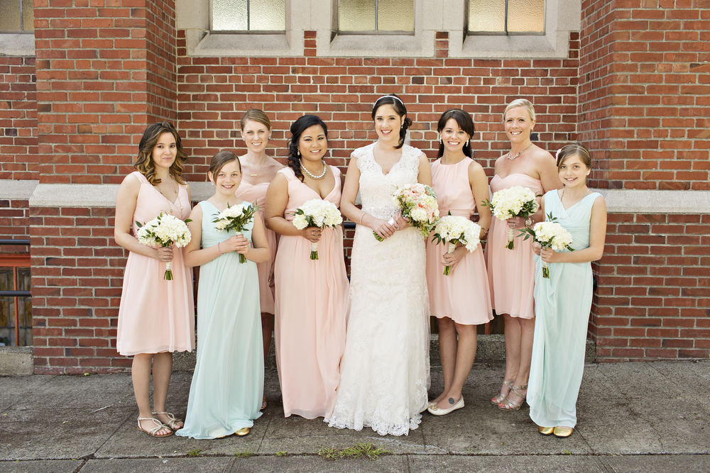 Mint peach and gold spring wedding reception at the canal jewel mint and peach wedding junglespirit Images