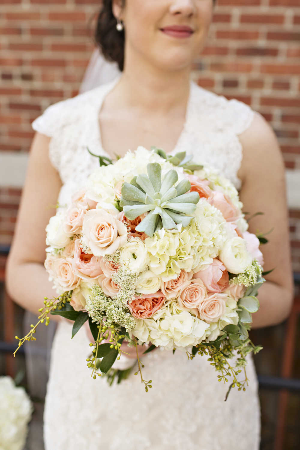 Mint and peach bridal bouquet
