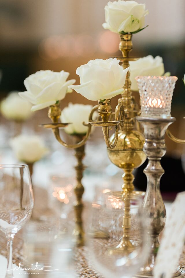 Gold vintage wedding details