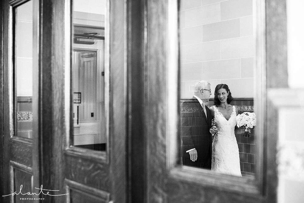 Bride getting ready to walk down the isle