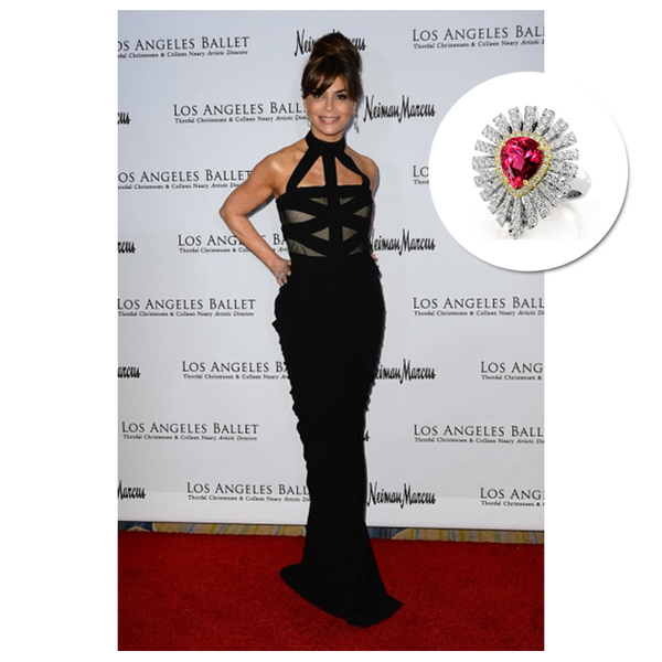 Paula Abdul stunned in Kat Florence's white gold and red Spinel ring at the Los Angeles Ballet Gala, April 2014.