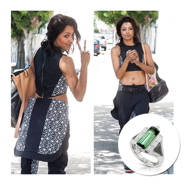 SPOTTED: Vampire Diaries star, Kat Graham, wearsKat Florence's Alexandrite ring while out in LA, April 2014.