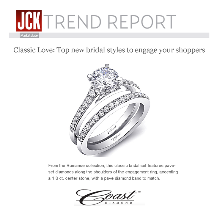 JCK featured Coast Diamond's engagement ring set from their Romance Collection in their Trend Report! April 2014