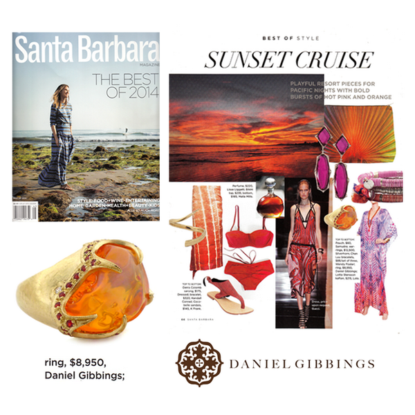 "This Daniel Gibbings ring is the ultimate burst of orange for your luxe summer getaway. Thanks Santa Barbara Magazine for the feature in the ""Best of 2014"" issue! April 2014."