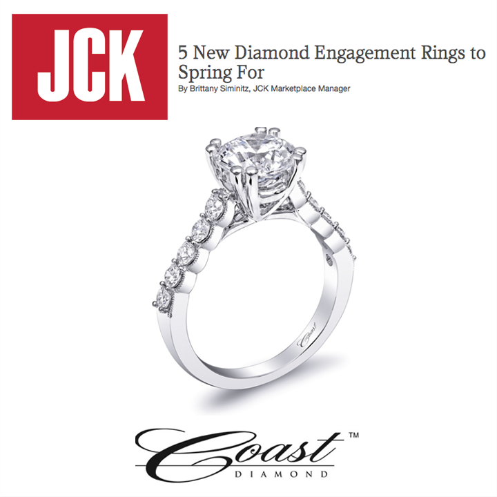 "We love wedding season! Check out one of Coast Diamond's engagement rings in JCK Marketplace's ""5 New Diamond Engagement Rings to Spring For"" story, April 2014. To view online, click here!"