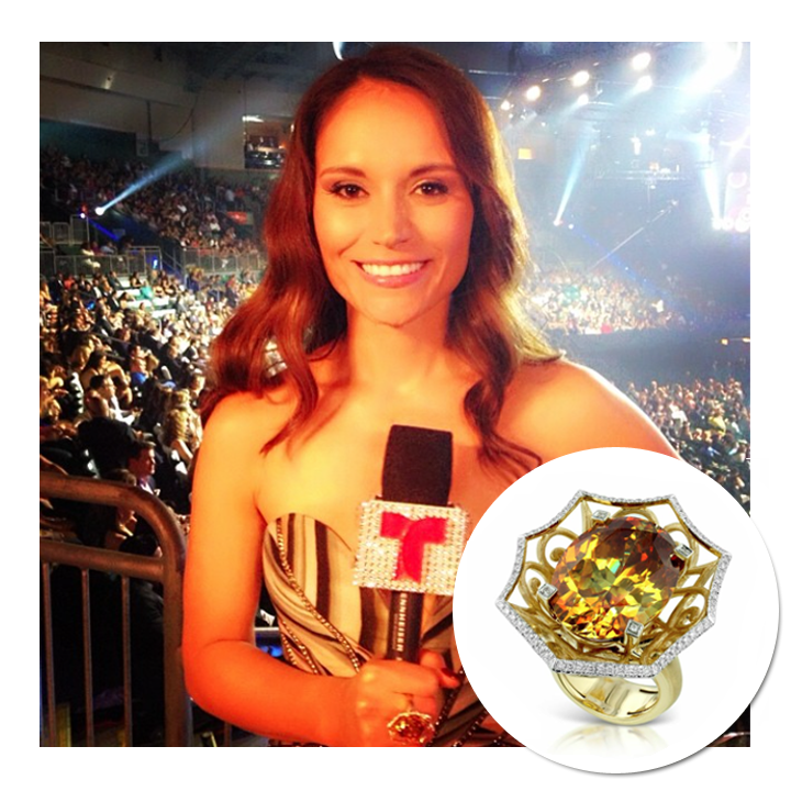 E! News host, Arlene Santana, sparkels in Kat Florence's ring while hosting the Latin Billboard Music Awards! April 2014