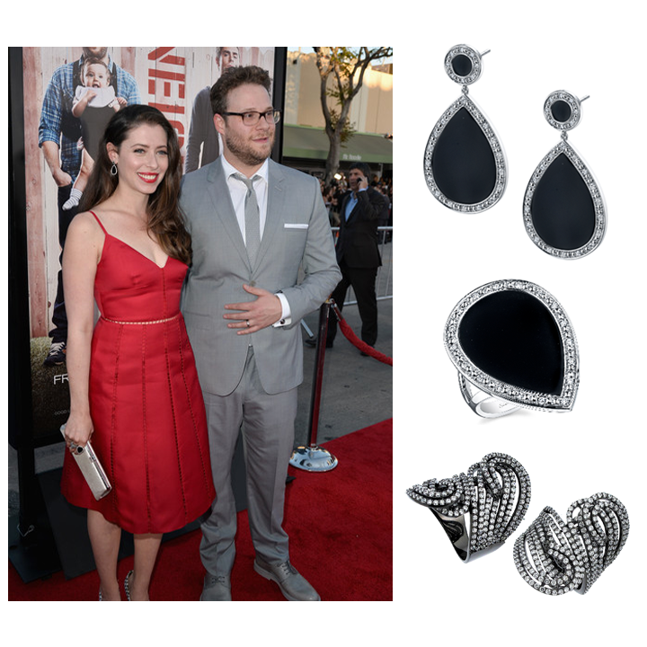 Lady in red! Beautiful actress, Lauren Miller escorted her hubby Seth Rogen to the premiere of Neighbors, and wore a Supreme Jewelry Black Rhodium & Diamond ring, and Sylvie Collection ring and earrings, April 2014