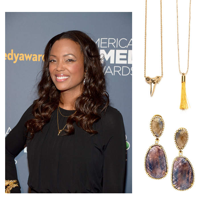 The lovely, Aisha Tyler looked drop-dead gorgeous in Supreme Jewelry's sliced Sapphire & Diamond earrings, and Tiffany Chou jewels at this year's American Comedy Awards, April 2014.