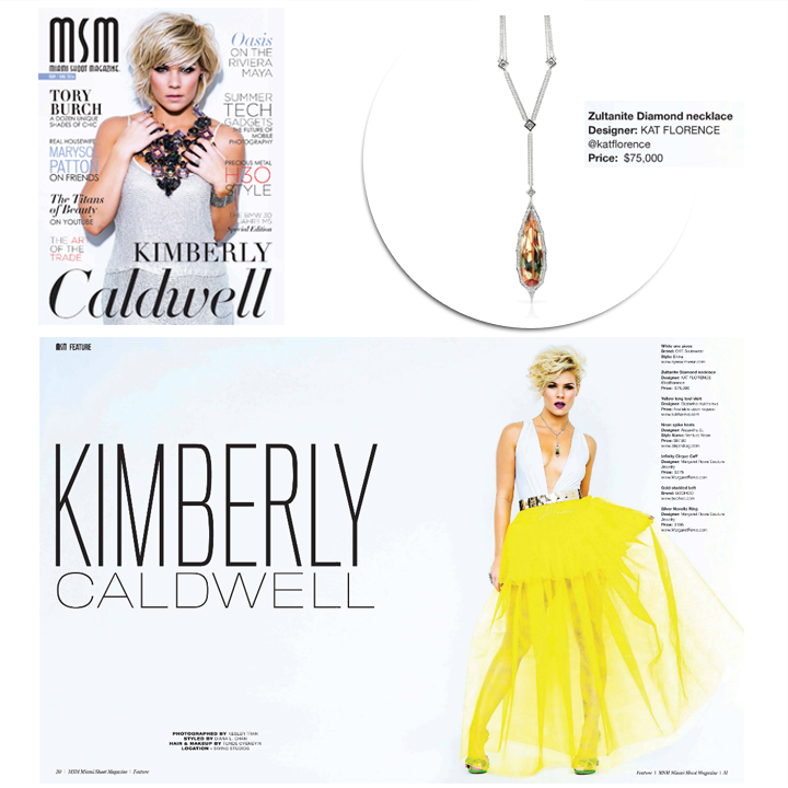 Former American Idol, Kimberly Caldwell rocks Kat Forence's Zultanite® Diamond necklace in the May/June 2014 issue of Miami Shoot Magazine! May 2014