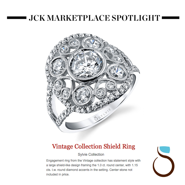 We LOVE this Sylvie Collection vintage inspired engagement ring featured on JCK Marketplace! May 2014