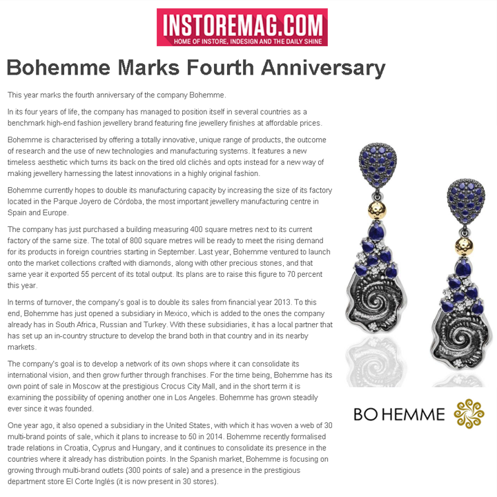 Bohemme celebrates its 4th anniversary! Check out the feature in INSTORE Magazine online, May 2014.