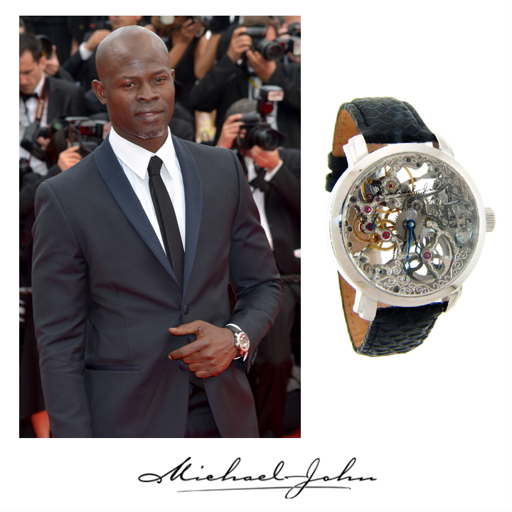 "Star of ""Blood Diamond"", Dijimon Hounsou wore Michael John Jewelry's Skeleton watch to the ""Grace of Monaco"" premiere while at Cannes Film Festival! May 2014"