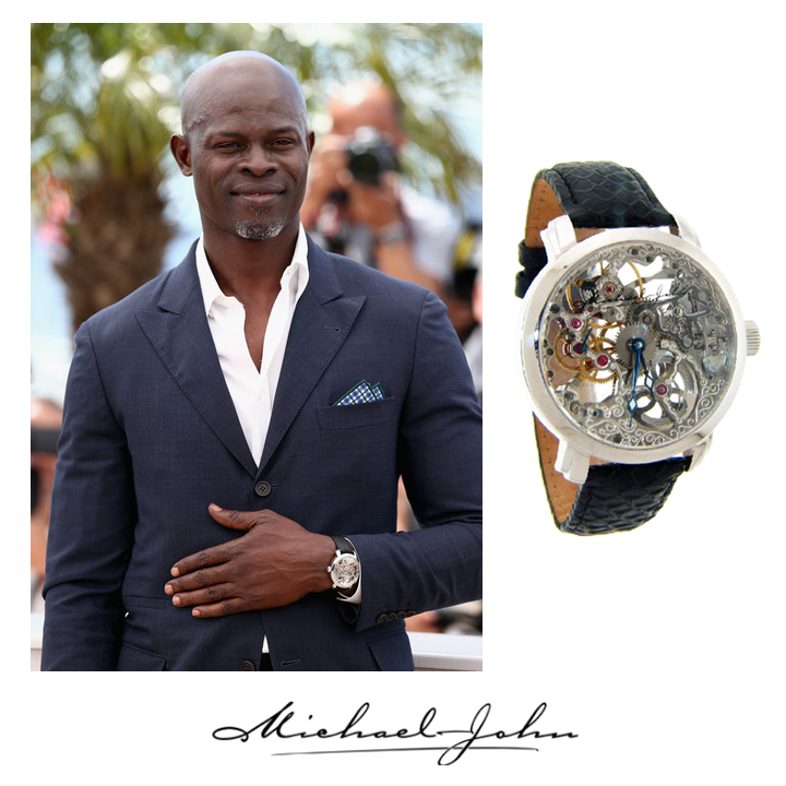 "Dijimon Hounsou also wore the Michael John Jewelry watch to the ""How to Train Your Dragon 2"" press appearance while at Cannes Film Festival, May 2014."