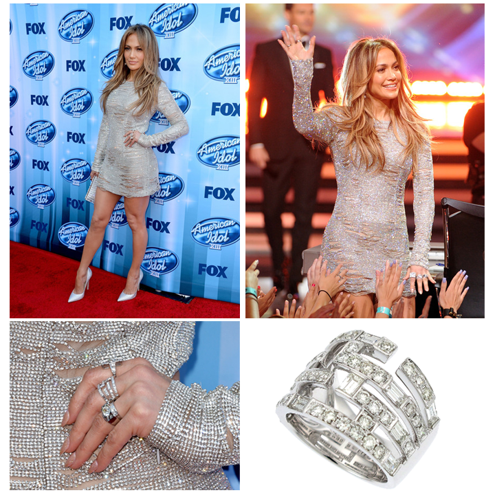 Pop superstar, Jennifer Lopez sparkles in Supreme Jewelry's Baguette Diamond ring on the season finale of American Idol! May 2014