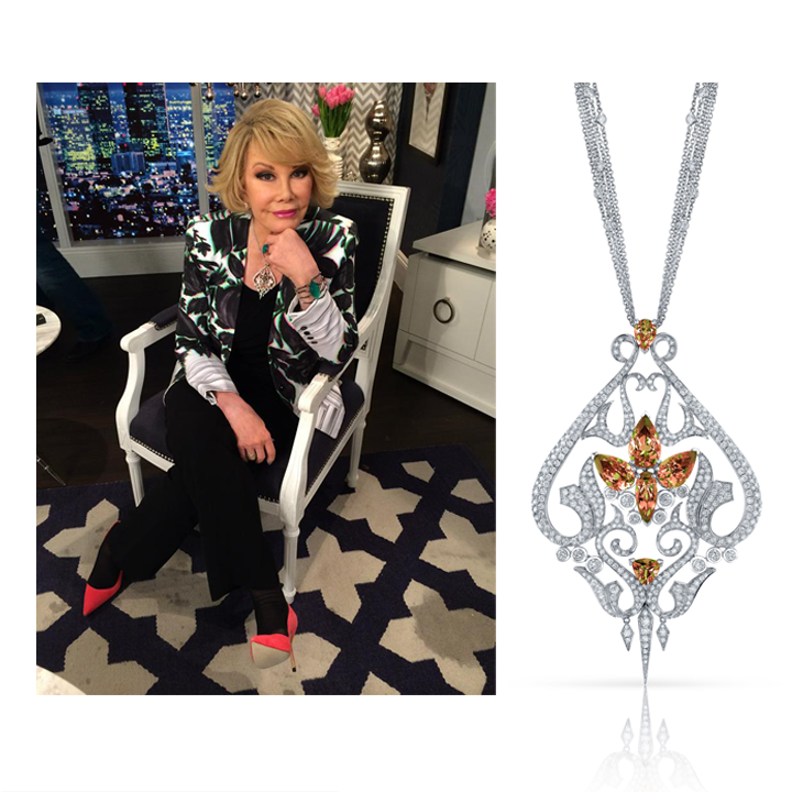 Iconic comedienne, Joanne Rivers, hosted last week's episode of Fashion Police wearing Stephen Webster's Zultanite® & Diamond pendant, May 2014.
