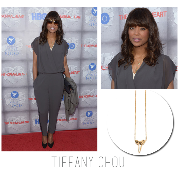 "The lovely Aisha Tyler wore Tiffany Chou's shark tooth necklace to HBO's ""The Normal Heart"" premiere, May 2014."