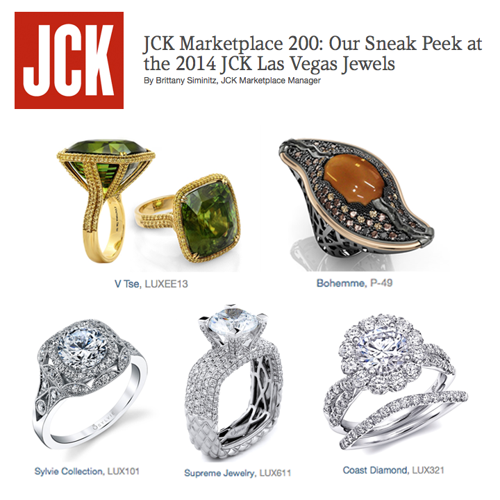 We're getting excited for JCK Las Vegas! Take a sneak peek here at JCK's 2014 jewels from V. Tse, Bohemme Jewelry, Sylvie Collection, Supreme Jewelry and Coast Diamond! May 2014