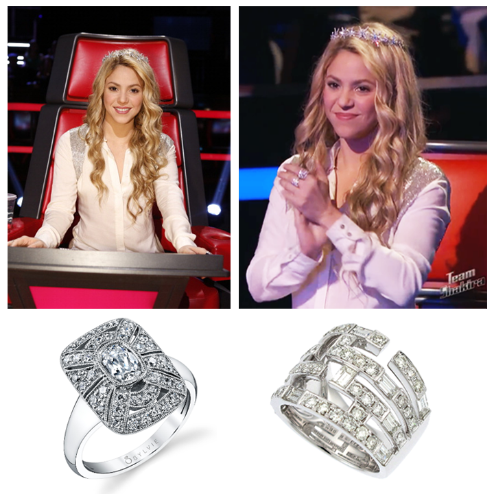 "Latin pop star, Shakira, wore Supreme Jewelry's Baguette Diamond ring and a Sylvie Collection ring during last week's episode of ""The Voice"" Season 6! May 2014"