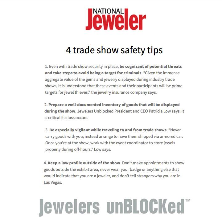 This is a must-read article for all JCK Las Vegas Exhibitors! Thanks National Jeweler for featuring Jewelers unBLOCKed's tips!