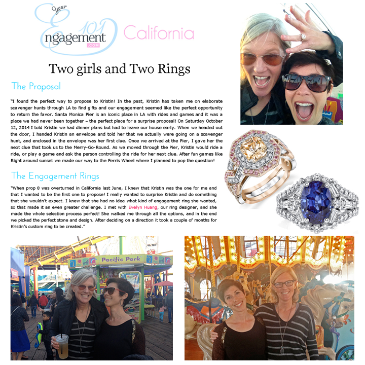 Engagement 101 features Jessica & Kristin's proposal and evelynH. Jewelry's engagement rings!