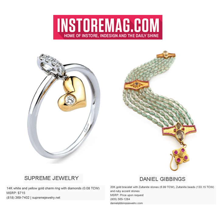 "Supreme Jewelry's 14K White and Yellow Gold charm ring with Diamonds, and Daniel Gibbings 20K Gold bracelet with Zultanite is featured in INSTORE Magazine online in their ""New Arrivals"" section."