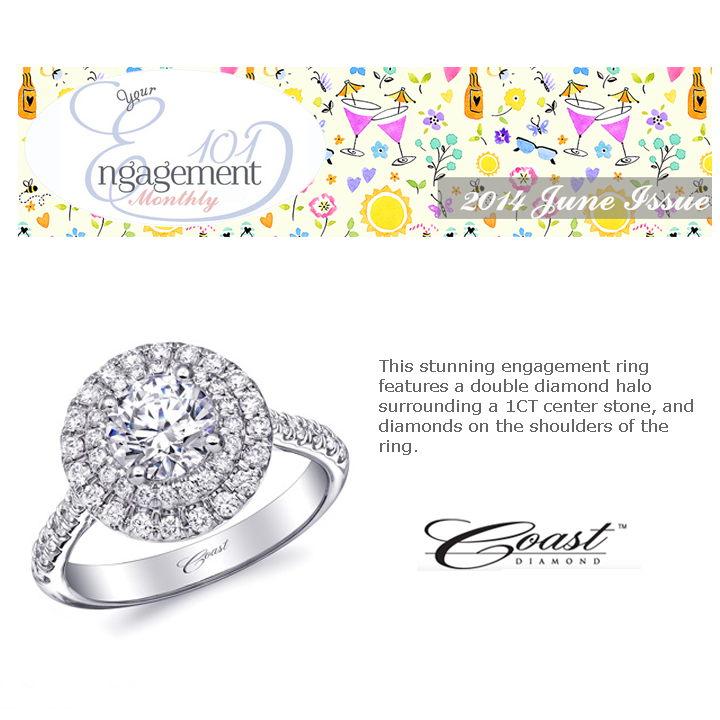 Coast Diamond's 3CT center stone engagement ring is featured in Engagement 101's June's newsletter.