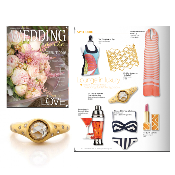 Check out Daniel Gibbings 18K Gold and Diamond ring in the Summer/Fall 2014 issue of Wedding Guide Chicago!