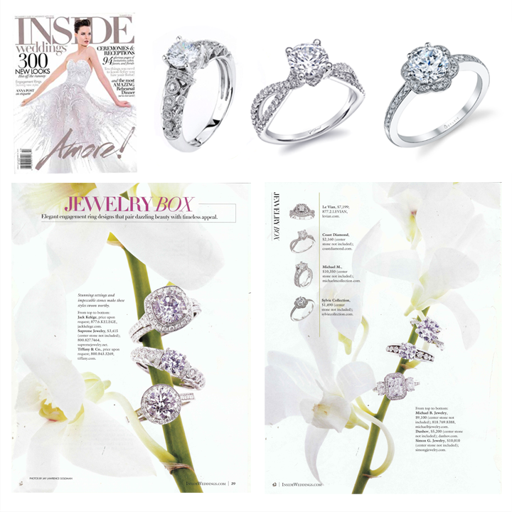 "Check out Coast Diamond, Supreme Jewelry and Sylvie Collection featured within the ""Jewelry Box"" section of the Summer 2014 issue of Inside Weddings!"