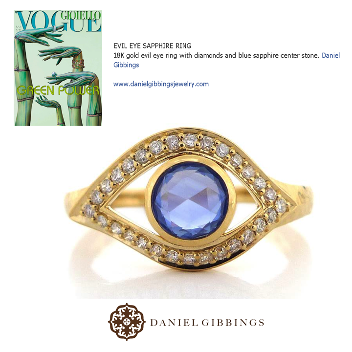 We can't stop looking at this evil eye Sapphire ring by Daniel Gibbings! Thank you to Vogue Gioiello for featuring!