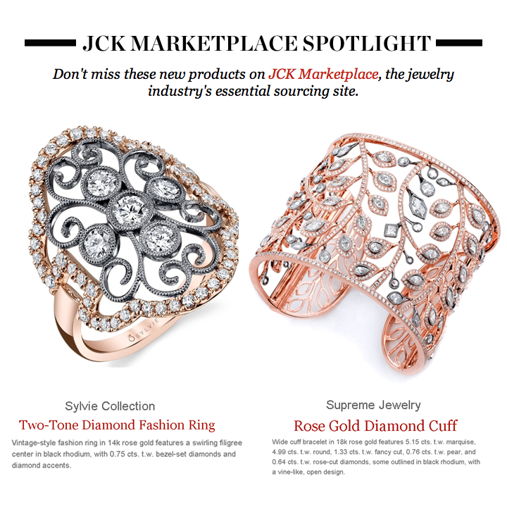 Thank you to JCK Marketplace for putting the spotlight on Supreme Jewelry's Rose Gold Diamond Cuff, and Sylvie Collection's Two-Tone Diamond fashion ring in this week's newsletter!